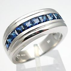 mens sapphire ring   Natural Blue Sapphire Mens Band Ring Solid 18K White Gold - EraGem