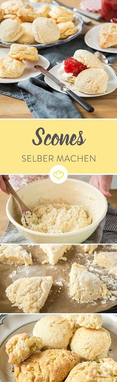Diese 3 Varianten solltest du kennen (und probieren) The traditional scones come from England, the modern variant from America. What is the difference to biscuits? Fudge Caramel, Clotted Cream, Baked Donuts, Breakfast Bake, Donut Recipes, Bread Recipes, Sweet Cakes, Cookies Et Biscuits, No Bake Desserts