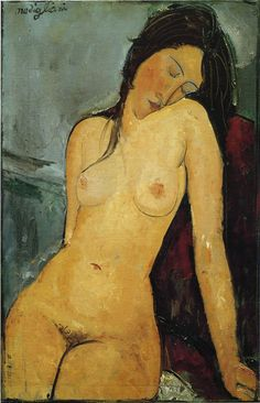 """Female nude (Iris Tree)"" in 1916 by Amadeo Modigliani (Livorno 1884 - Paris 1920). Oil on canvas (92x60cm). Courtauld Institute of Art, London. ""Modigliani's series of nudes dates from 1916-19. He has depicted the woman's body in a naturalistic manner, her elongated face, her simplified and harmonious features are reminiscent of the geometric and perfected forms of African statuary which the artist knew and admired. The majority of nudes were in a reclining position."" by royalacademy.org"