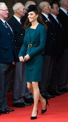 On March 8, 2012, the Duchess accompanied Queen Elizabeth II to Leicester to kick off her Diamond Jubilee tour in the United Kingdom. Designed by LK Bennett, Middleton's jacket and dress reportedly sold out shortly after her appearance in them. The Duchess completed her look with a black fascinator and Epsiode pumps.