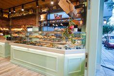 another shot on a previously posted bakery interior Constantinos Bikas interior designer - Kogia bakery by Konstantinos Bikas, via Behance Bakery Interior, Shop Interior Design, Exterior Design, Vintage Bakery, Vintage Cupcake, Cupcake Shops, Cupcake Bakery, Bakery Design, Kiosk Design