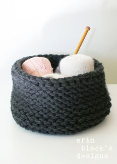 "DIY Knitting PATTERN - Chunky Knit Baskets - 3 styles (approx 11"" diameter by 8"" tall) (homdec013)"