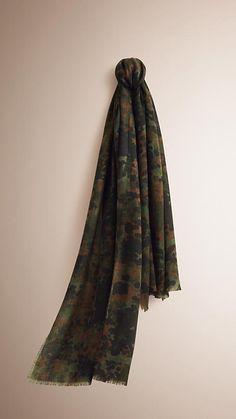 Dark cedar green The Lightweight Cashmere Scarf in Camouflage Print -  1