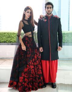 Banglori+Silk+Black+&+Red+Floral+Print+Semi+Stitched+Lehenga+-+P763 at Rs…