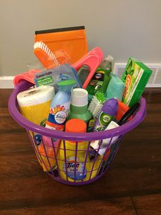 Graduation creative cleaning/laundry basket gift. Great gift to keep college kids clean while living in the dorms.