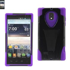 Reiko Silicon Case+Protector Cover Lg Spectrum 2 Vs930 New Type Kickstand Black Purple