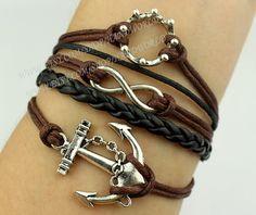 Silvery anchor bracelet infinity karma bracelet crown by handworld, $5.59