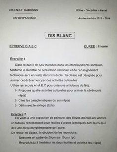LES EPREUVES DU DIS BLANC CAFOP D'ABOISSO