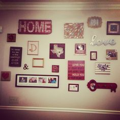 Collage wall ideas. All from hobby lobby, kirklands, or homemade.  #DOBYNSCRAFTS