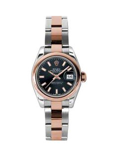 Rolex Ladies Watch Datejust 179161 Black Dial Rose Gold Steel Oyster Band