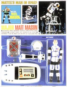 """Mattel's Major Matt Mason bendie toy from the popular w/boys during """"the space race. Vintage Toys 1960s, 1960s Toys, Gi Joe, Action Toys, Action Figures, Childhood Toys, Childhood Memories, Geek Toys, Space Toys"""