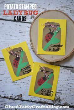 Potato Stamped Ladybug Cards
