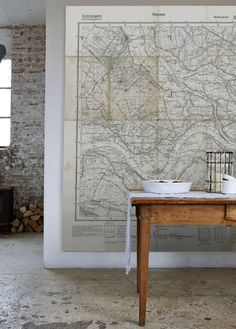 'Huissen' Mural from the Vintage Maps Collection, from £60 per sq/m - Surface view.