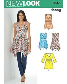78409ad4b5fd Simplicity Vintage Simplicity Vintage New Look Patterns UN6345A Misses   V-Neck Tops with Length Variations