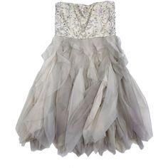 Pre-owned Alice & Olivia Champagne Embellished Ruffle Dress ($199) ❤ liked on Polyvore featuring dresses, embellished dress, sequin dresses, flutter-sleeve dress, off white dresses and vintage white dress