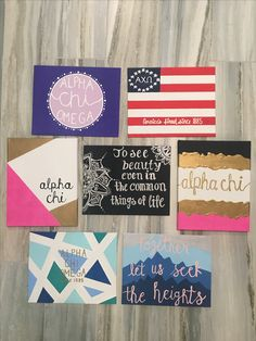 Alpha chi omega sorority canvases and crafts