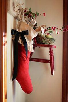 Christmas Stocking cotton red classic by atcompanyb on Etsy, $45.00