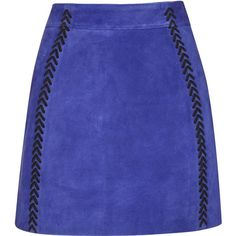 TOPSHOP Stitch Suede A-Line Skirt (1 040 SEK) ❤ liked on Polyvore featuring skirts, cobalt, topshop, blue skirt, knee length a line skirt, a line skirt and zipper skirt