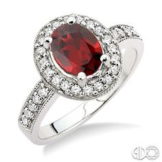 8x6mm Oval Cut Garnet and 1/3 Ctw Round Cut Diamond Ring in 14K White Gold