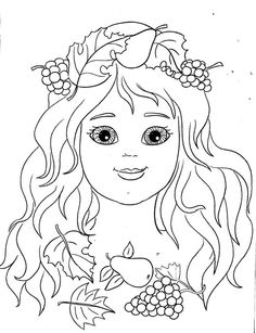Tündér Fairy Coloring, Doodle Coloring, Flower Coloring Pages, Free Coloring Pages, Coloring Sheets, Adult Coloring, Coloring Books, Autumn Crafts, Autumn Art