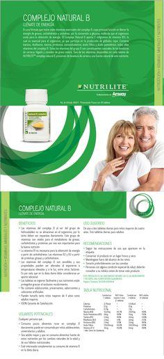 Complejo B Natural Amway Nutrilite, Este producto te ofrece las propiedades de siete vitaminas del Complejo B, que llenan a tu cuerpo de energía, por participar en el proceso de conversión de carbohidratos en glucosa, molécula que el organismo oxida para la obtención de energía. La Vitamina B12 es esencial para el organismo, ya que participa en la producción de glóbulos rojos. www.naturalesnokua.com.co