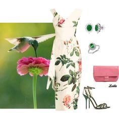 """""""VIVIENNE WESTWOOD GOLD LABEL Prestige floral-print silk satin dress"""" by lellelelle on Polyvore"""
