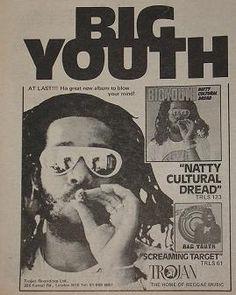 Big Youth advert, Jan. 1976. Reggae Music, My Music, Big Youth, Dance Hall, Do Love, Poster Prints, Posters, Creative Writing, Music Artists