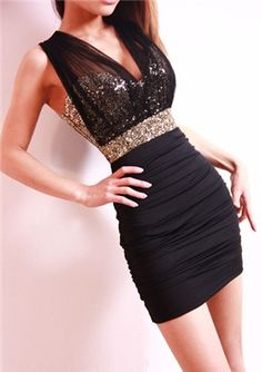 Charming Black Strapless Paillette Vests Dress Clubwear