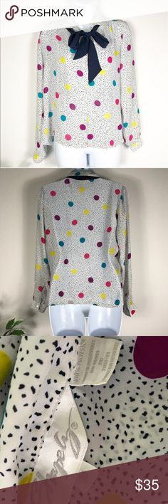 "10 vintage 80's polkadot tie neck button up blouse 10 vintage 80's polkadot tie neck button up blouse. Multi color. Tagged medium measures approx 19.5"" b 19.5"" h 23"" sleeve laying flat  Polyester Tops Blouses"