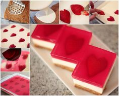 Strawberry Jelly Hearts (Jelly Slice with a twist! Beaux Desserts, Köstliche Desserts, Dessert Recipes, Dessert Bars, Strawberry Parfait, Strawberry Hearts, Jello Parfait, Jelly Cheesecake, Desert Recipes