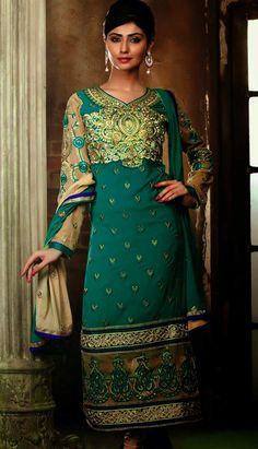 Shop Indian Beautiful Green Georgette #ChuridarKameez #AnarkaliDresses Product code: KPW-36098 Price: INR 4819 (Unstitch Suit), Color: Green      Shop Online now: http://www.efello.co/Salwar-Kameez_Indian-Beautiful-Green-Georgette-Churidar-Kameez-Anarkali-Dresses,-Dress_4528