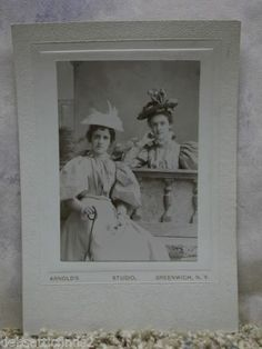 Young Ladies Exquisite Dress LRG Hats Fashion Antique Cabinet Photo Greenwich NY | eBay