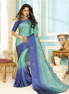 Blue Crepe Saree With Blouse - The Fashion Attire - 2688039 Indian Sarees Online, Buy Sarees Online, Crepe Saree, Party Wear Sarees, Saree Collection, Blue Blouse, Blue Fabric, Saree Blouse, Fabric Design