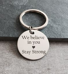 We believe in, you stay strong , Sobriety Gift, Sobriety Keychain, Keyring, Gift, Recovery Jewelry, Recovery Keychain, Silver Keychain by SAjolie, $21.95 USD
