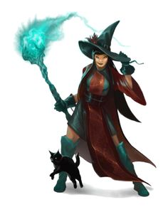 Female Human Witch with Cat Familiar - Pathfinder PFRPG DND D&D d20 fantasy
