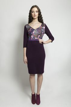 PRINTED V-NECK PENCIL DRESS    295.00   Printed V-Neck Pencil dress, with 3/4 pencil length skirt.     Material: Jersey    Colour: Print & Aubergine