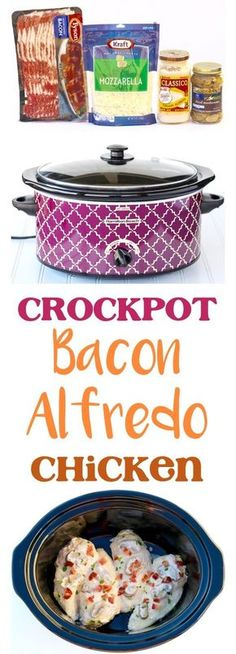 Slow Cooker Alfredo Chicken with Bacon! 5 Ingredients - The Frugal Girls-- Crockpot Alfredo Chicken Recipe! Bacon makes everything better… including this EASY 5 Ingredient Crock Pot Dinner! So delicious! Recetas Crock Pot, Crock Pot Food, Crockpot Dishes, Crock Pot Slow Cooker, Slow Cooker Recipes, Cooking Recipes, Crockpot Meals, Meal Recipes, Dinner Recipes