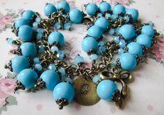 Turquoise blue initial bracelet, by romanticcrafts, $29.00
