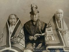 Three brothers, headmen of the Chilkat, Alaska, 1907, UW Library American Indians of the Pacific Northwest Collection