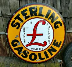 Original Sterling Gasoline Porcelain Sign