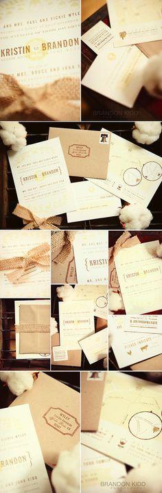 burlap wedding invites... continued
