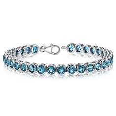 1900 carats Round Cut London Blue Topaz Tennis Bracelet in Sterling Silver Rhodium Nickel Finish * You can find out more details at the link of the image.(This is an Amazon affiliate link and I receive a commission for the sales)