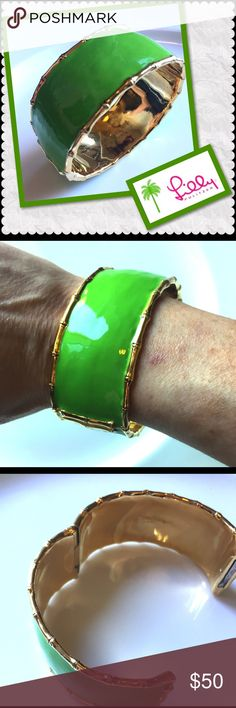 """Lilly Pulitzer Beautiful Green and Gold Cuff This is such a beautiful piece in perfect condition. It's an amazing simple statement piece for Summer. 1"""" wide gold plated bamboo edges. Has an open and close clasp. Lilly Pulitzer Jewelry Bracelets"""