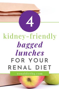 Need some renal diet lunch ideas to take to work to help you ensure that you stick to your kidney disease diet? Finding simple kidney-friendly lunches (especially bagged lunches) can be hard. But check out these easy kidney friendly lunches that can you can take in your lunch bag! | Kidney Diet Recipes Lunches | Renal Diet Menu Options | Kidney Disease Diet Food List #KidneyDiseaseDiet #RenalDiet #renal #KidneyDisease #KidneyFriendly