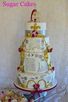 """""""French Vintage Dashing Wedding Cake"""" made at Sugar Cakes"""