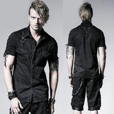 Black Short Sleeve Button Down Gothic Punk Rock Casual Shirts Men SKU-11407021
