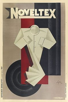 French ad poster for Noveltex shirts - 1928 - artist Sepo (Severo Pozzati).