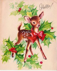 Vintage 1950s Hello Doe Christmas Greetings by poshtottydesignz