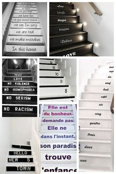 Original stairs decoration on Italian bark www.er-interiordesign.com Stair Decor, Stuff To Do, Cool Stuff, Cute Quotes, Remodeling Ideas, Peace And Love, Floors, Have Fun, Sweet Home