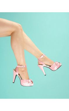 Bettie Pink Satin Heel with Ankle Strap and Peep Toe - Wedding Belles - Collections | Pinup Girl Clothing